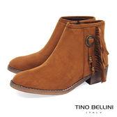 ★零碼出清★Tino Bellini迷人微嬉皮流蘇低跟短靴_棕  A69065 2016AW