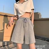 運動褲 灰色運動短褲女夏季薄款寬鬆高腰垂感顯瘦闊腿五分褲直筒港味中褲