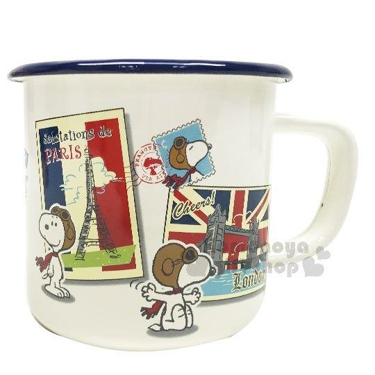 〔小禮堂〕史努比 日製琺瑯瓷馬克杯《白.飛行帽.英國》520ml.精緻盒裝.咖啡杯 4975192-08271