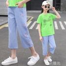 女童牛仔褲七分褲兒童褲子寬管褲夏薄款2021新款洋氣中褲夏季休閒 一米陽光