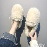 加絨豆豆鞋網紅毛毛鞋女冬外穿秋冬平底羊羔毛女鞋一腳蹬豆豆鞋加絨女鞋 愛丫愛丫