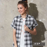 【JEEP】女裝 經典百搭寬版落肩格紋短袖襯衫 (黑色)
