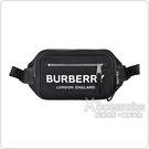 BURBERRY Print白字LOGO尼龍拉鍊胸掛包(黑)