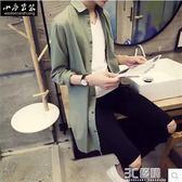 日系秋季男士長袖襯衫亞麻中長款韓版修身青少年春秋外套潮男夏季 3c優購