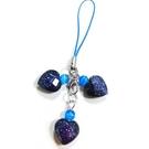 三顆藍砂石心吊飾