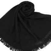 GIORGIO ARMANI羔羊毛雙G LOGO刺繡圍巾(黑色)084061
