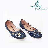 [Wengcollection]Orbit Stone 丹寧圓頭娃娃鞋 深藍