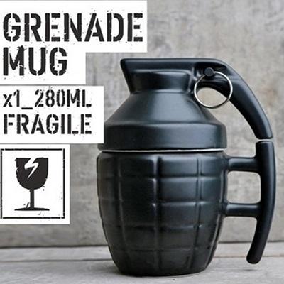 彩繪咖啡杯-立體手榴彈造型附蓋陶瓷馬克杯2色72ax21【時尚巴黎】