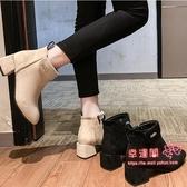 切爾西短靴 女2020新款英倫風秋冬季百搭粗跟刷毛港味馬丁靴顯腳小 2色