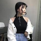 背心女短款2018春季裝韓版性感露肩外穿露臍百搭無袖掛脖打底上衣  巴黎街頭