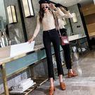 牛仔褲 牛仔褲女韓版顯瘦不規則微喇叭寬管牛仔褲 歌莉婭
