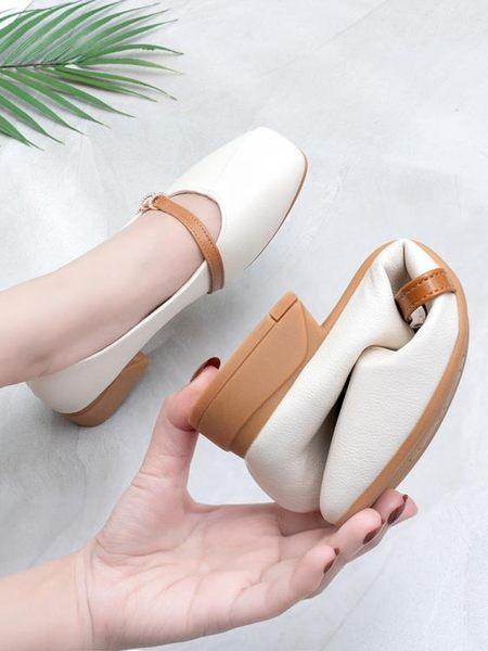 單鞋女平底奶奶鞋2019春季新款百搭仙女鞋溫柔春款網紅粗跟晚晚鞋 喵小姐