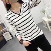 EASON SHOP(GU3100)條紋V領長袖T恤女上衣白色棉T秋裝韓國顯瘦內搭衫彈力貼身