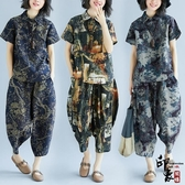 復古抽象印花棉麻加肥大尺碼寬鬆蝙蝠袖低襠褲時尚套 週年慶降價