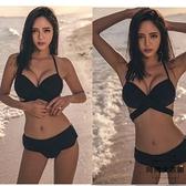 比基尼泳衣女性感修身顯瘦聚攏高腰綁帶三點式 沙灘泳裝【時尚大衣櫥】