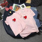 全家裝2018新款親子裝夏四口潮一家三口短袖t恤寶寶紅心棉質體恤三角衣櫥