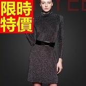 洋裝-大方素色金蔥點綴正韓時尚保暖高領羊毛連身裙63c33【巴黎精品】