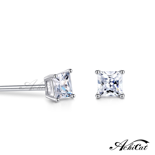 AchiCat 925純銀耳環 簡約幾何 單鑽 方型耳環 3mm 抗過敏耳環 一對價格 生日禮物 GS9066