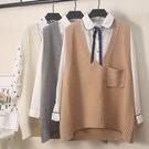 毛衣 馬甲 女中長款春秋新款正韓大碼v領寬鬆顯瘦針織坎肩無袖背心 店慶降價