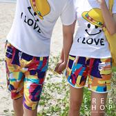 [現貨] 情侶款滿版多彩油漆感印花海灘短褲 有大尺碼 男女中性款沙灘褲衝浪褲【QZZZ203】