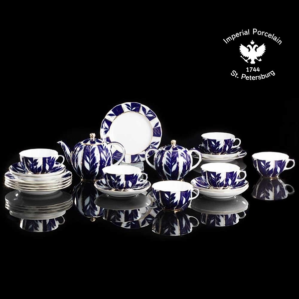 俄羅斯Imperial Porcelain-午茶系列-藍調金葉22K金手工-20件下午茶具禮組