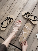 涼鞋晚晚風溫柔鞋涼鞋女仙女風潮平底學生百搭草編羅馬鞋新品