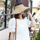 防曬遮陽草帽 夏日防曬可折疊寬簷遮陽編織草帽