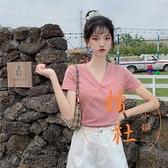 短袖T恤女春季V領修身顯瘦上衣休閒百搭打底衫【橘社小鎮】
