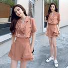 VK精品服飾 韓國風西裝領純色雙釦襯衫裙褲套裝短袖褲裝