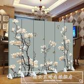 屏風隔斷簡約辦公時尚客廳實木現代臥室移動折疊餐廳雙面布藝折屏CY『韓女王』