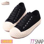 TTSNAP餅乾鞋-帆布綁帶厚底增高平底鞋 黑/米