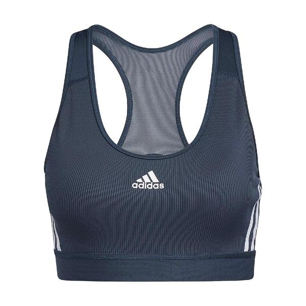 adidas 運動內衣 Believe This 3-Stripes Medium Ssupport Rib Bra 藍 白 女款 背心 運動休閒 【ACS】 GM2963