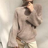 中小尺碼M-XL高領寬鬆休閒上衣針織毛衣27548新款韓版套頭寬松顯瘦複古針織衫胖胖唯依