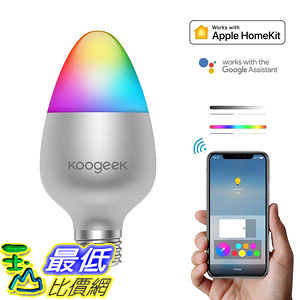 [107美國直購] Koogeek LED Light Bulbs Smart Night Light Bulb E26, Color Changing Dimmable