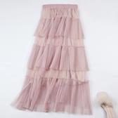重工百褶網紗蛋糕裙半身裙春夏2019新款仙女裙多層次紗裙長裙