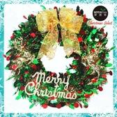 摩達客16吋繽紛閃亮哈莉葉金蔥聖誕花圈(紅綠x麋鹿系)(台灣手工組裝出貨)