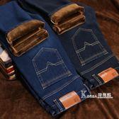 牛仔褲-冬季新款男士加絨牛仔褲男韓版修身直筒彈力大碼加厚休閒牛仔長褲 Korea時尚記