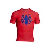 UA HG AlterEgo [1244399-603] 男 短袖 強力 伸縮 運動 訓練 排汗 動漫 蜘蛛人上衣 紅