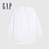 Gap女裝 棉質舒適亮色拉鍊立領長袖襯衫 613866-白色