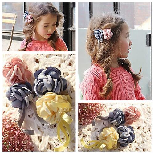 雙色玫瑰花緞帶花朵髮夾 兒童髮飾 雙色髮夾 造型髮夾