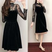 黑色絲絨洋裝連身裙蕾絲拼接透視小黑裙打底 巴黎时尚生活