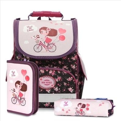一年級二年級護脊書包▶Tiger Family歐洲插畫家款小貴族超輕量護脊書包+文具袋+鉛筆盒-單車少女