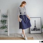 《DA8102-》假兩件條紋拼接收腰綁帶長袖洋裝 OB嚴選