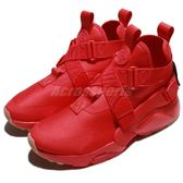 Nike 休閒鞋 Wmns Air Huarache City 紅 全紅 交叉綁帶 高筒 女鞋 武士鞋【PUMP306】 AH6787-600