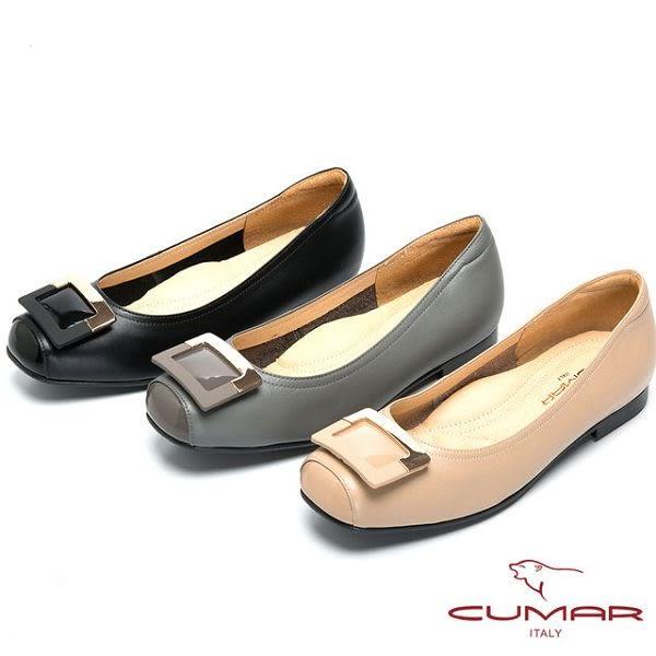 ★2016秋冬★【CUMAR】法式優雅-方形飾釦小方頭平底鞋(灰色)