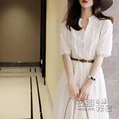 蕾絲洋裝 夏季新款輕熟風女神范氣質收腰白色蕾絲碎花仙女溫柔風洋裝 衣櫥秘密