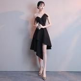 黑色晚禮服裙女2019新款夏季韓版短款宴會學生洋裝小禮服名媛顯瘦Mandyc