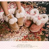 雪靴 絨毛麂皮毛球平底雪靴-Ruby s露比午茶