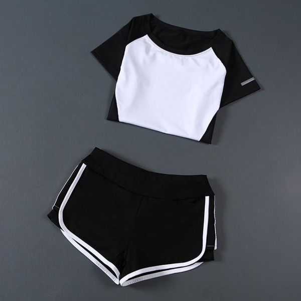 運動瑜伽服套裝女夏季兩件套速干短袖上衣瑜珈跑步短褲顯瘦健身服 【korea時尚記】