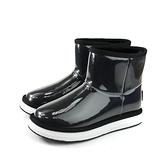 雪靴 短靴 保暖 防水 黑色 亮面 女鞋 no121